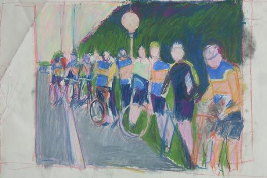 untitled (bikes, drawing 2/found image)