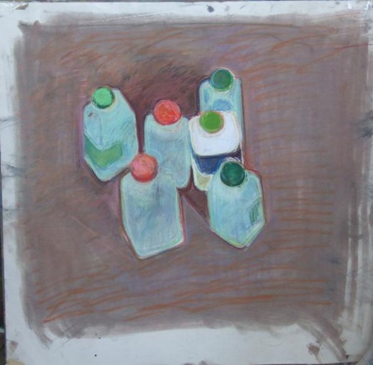 untitled studio drawing (milk bottle tops)