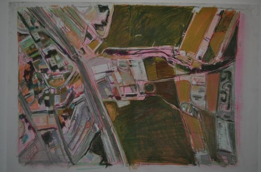 aerial rhythm (malaga sketch, pink ground, drawing 3)